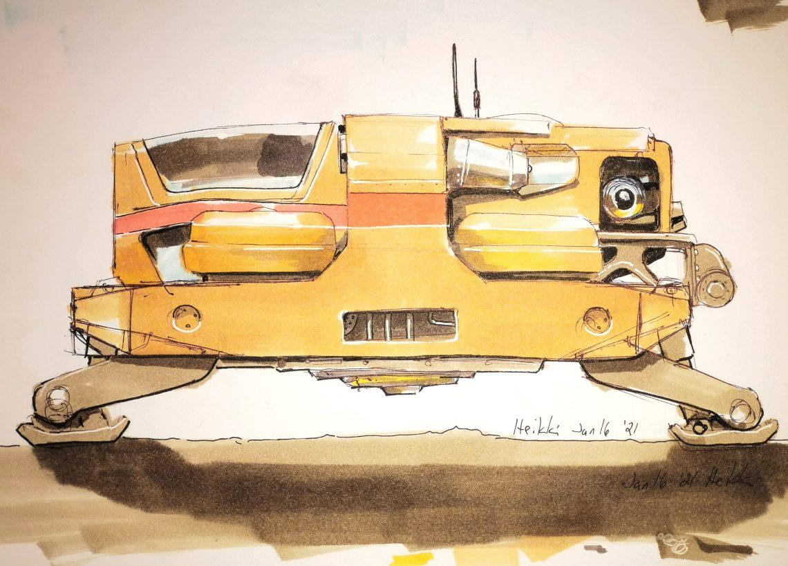 Concept Art progress for MUL3000 spaceship exterior